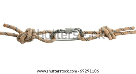 Climber's rope with carbine isolated on white