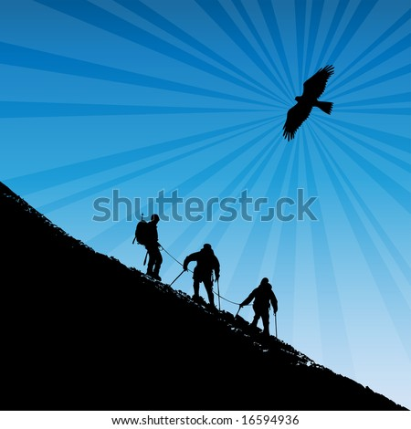 Climbers ascending a ridge at sunset in the alps with a soaring eagle in the background. Also available as a vector.