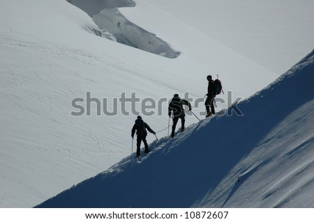 Climbers on Mt Blanc, France
