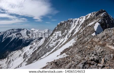 Climbers on the trail from Scala summit to Mytikas summit, the highest mountain of Olympus ridge in Greece. Climbing Mytikas summit. #1406514653