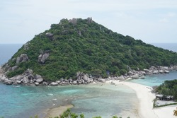 climbing a rock to get this stunning view of Nangyuan Islan. Took almost 20 minute to get there