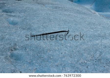 Climbing ax on the Perito Moreno Glacier, Patagonia Argentina