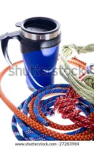 Climbing gear isolated on white