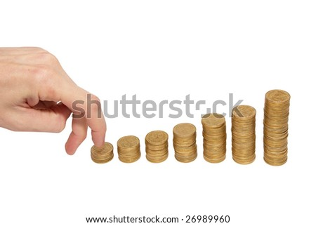 Climbing hand on gold coin staircase isolated on white.