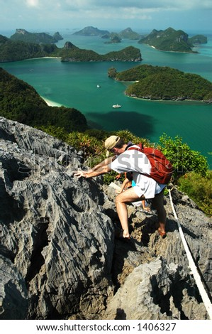 climbing in a natural park in Thailand