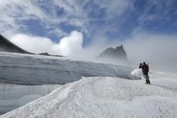 Climbing on Snaefellsjokull volcano.