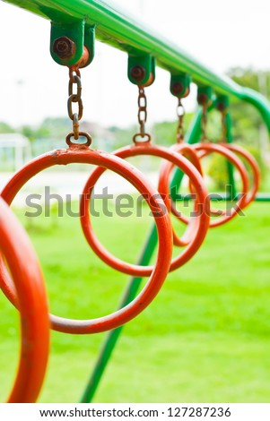 Climbing Rings In A Playground.