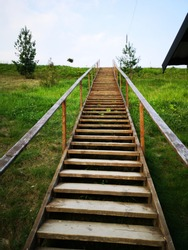 climbing wooden stairs in forest