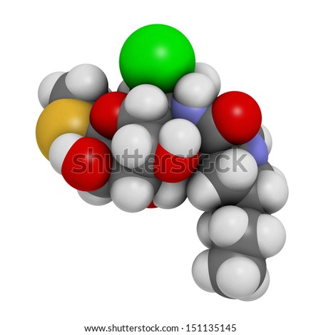 Clindamycin antibiotic drug (lincosamide class), chemical structure. Atoms are represented as spheres with conventional color coding: hydrogen (white), carbon (grey), nitrogen (blue), etc