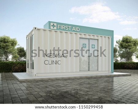 Clinic Container 3D render