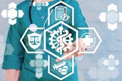 Clinically Proven Medicine Concept.  HIPAA Medical Compliance. Doctor touch gear caduceus virtual icon.