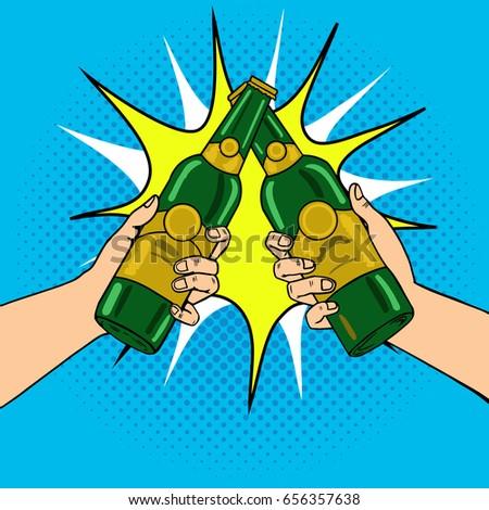Clink beer bottles pop art raster illustration. Comic book style imitation.