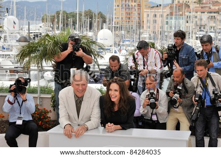 """Clint Eastwood & Angelina Jolie at the photocall for their new movie """"Changeling"""" at the 61st Annual Cannes Film Festival. May 20, 2008  Cannes, France. Picture: Paul Smith / Featureflash"""