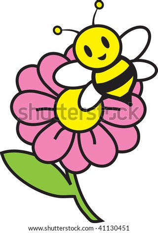 clipart flower pink. of a bee on a pink flower.