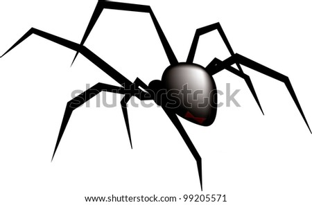Clip Art Illustration of a Black Widow spider.