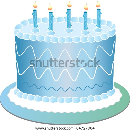 Clip Art Illustration Of A Blue Birthday Cake With The ...