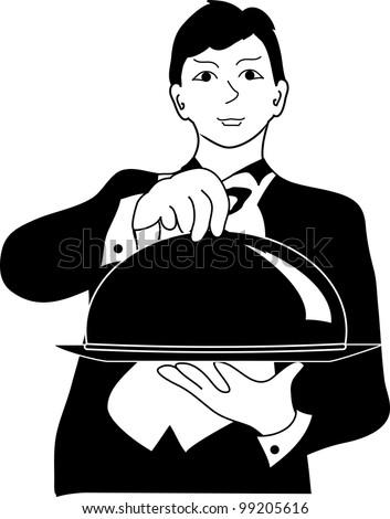 Clip Art Illustration of a  Butler Servant Clipart