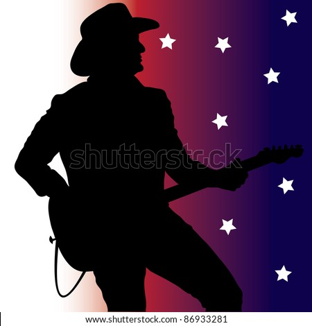 Clip art illustration of a country music guitar player silhouette on a red, white and blue background with stars.
