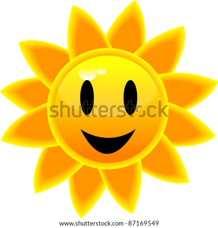 Clip art illustration of a glossy tropical sun icon with a smiling face.
