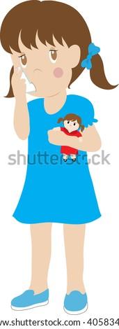Clip art illustration of a little girl using an inhaler.