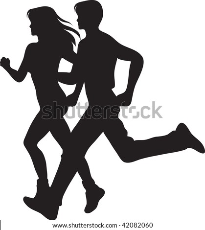 stock photo : Clip art illustration of a man and woman running.