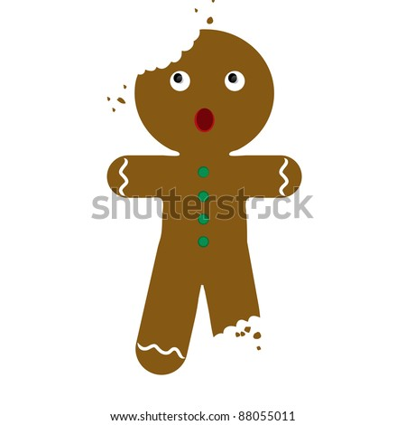 Clip art illustration of a partially eaten Gingerbread man Christmas cookie.