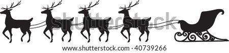 clip art illustration of a sleigh being pulled by 4 reindeer.