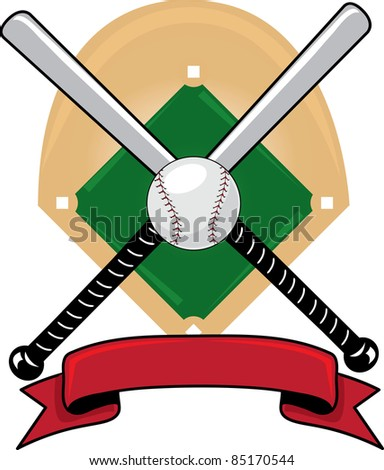 Clip art illustration of a  sports design with baseball bats, a ball and a banner over a baseball diamond.