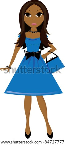 art illustration of a young brown skinned women wearing a party dress