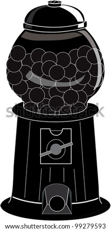 Clip Art Illustration of an old fashioned gumball machine silhouette.