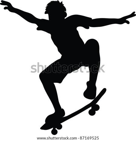 Clip art illustration of the Skateboarder Silhouette Clip Art