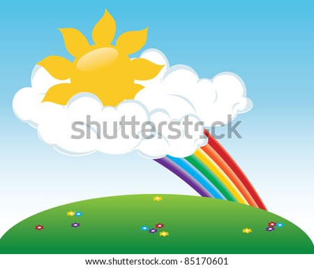 Clip art illustration of the sun peeking out of clouds with a rainbow.