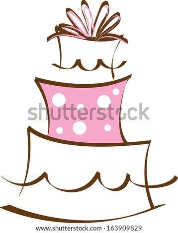 Clip Art Image Of A White And Pink Cake Shape Decorated ...