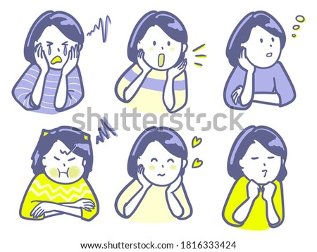 Clip art of a woman showing various expressions Photo stock ©
