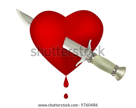 stock photo : Clip-art of dagger and bloody heart
