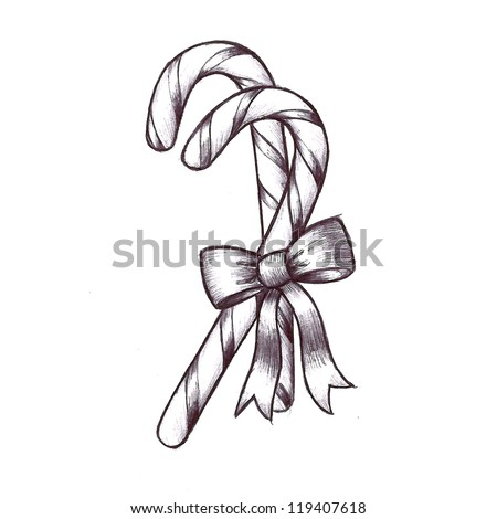 Clip Art Of Sweet Christmas Candy Canes With Stripes And A Cute Bow