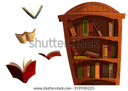 Clip Art Set: The Books and BookShelf isolated on White Background. Realistic Fantastic Cartoon Style Artwork Scene, Wallpaper, Game Story Background, Card Design
