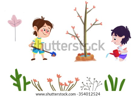 Clip Art Set: The Nature Objects: Boy, Girl, New Tree, Plant, Flowers. Realistic Fantastic Cartoon Style Artwork / Story / Scene / Wallpaper / Background / Card Design