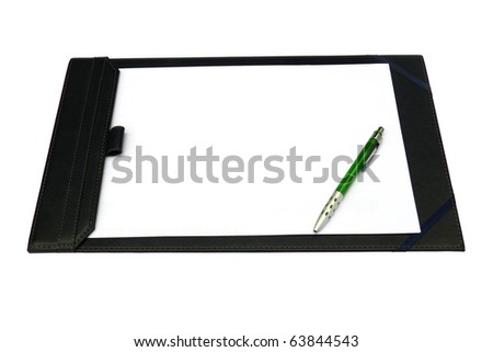 Clip board and papers isolated on white background