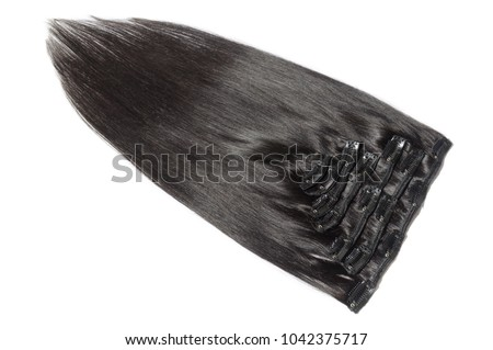 Clip in straight black human hair extension