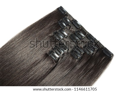 Clip in straight black human hair extensions
