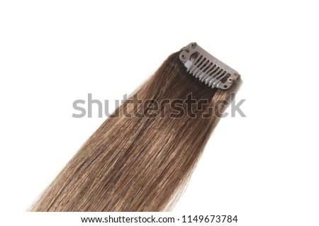 Clip in straight dark brown human hair extensions