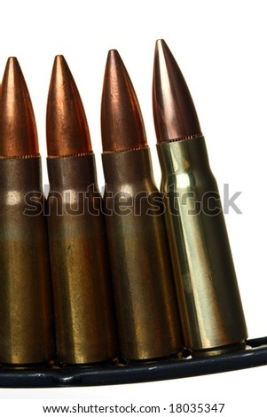Clip of Semi-automatic Rifle Bullets, Against White Ground