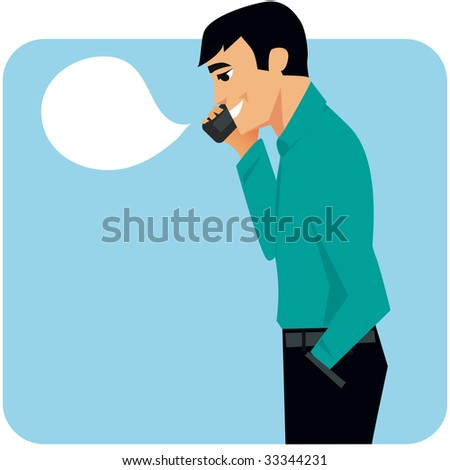 Clipart cartoon of man running his business from his cellphone