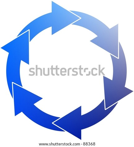 Clipart illustration of a blue circle of arrows