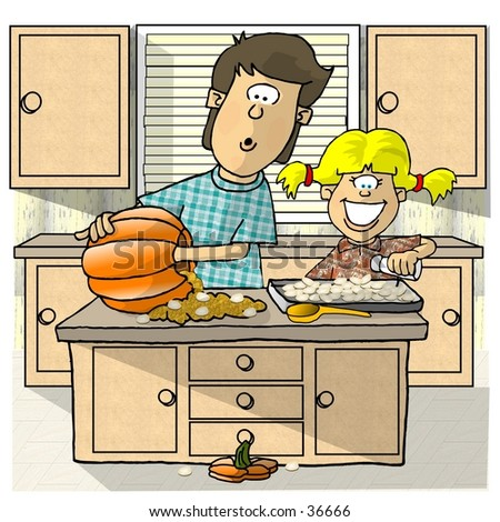 Clipart illustration of a boy and girl roasting pumpkin seeds