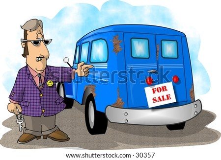 Clipart illustration of a car salesman showing an old wagon.