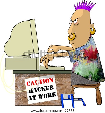 Clipart illustration of a computer hacker at work.