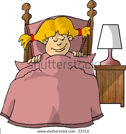 Clipart illustration of a girl asleep in her bed.