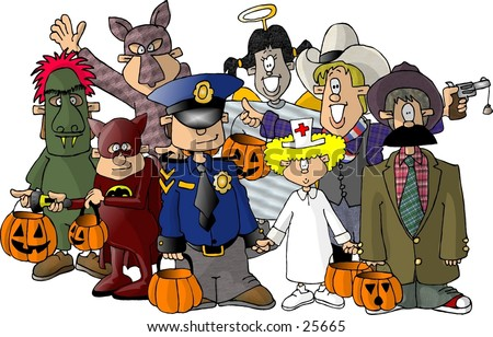 Clipart illustration of a group of kids in their Halloween costumes.
